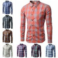 Wholesale 2016 New Dress Fashion Quality plaid men shirts Long Sleeve Korean Slim Design Formal Casual Male men business shirt colors BY DHL