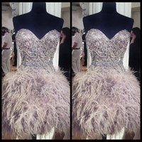 feather cocktail dress - Popular Sweetheart Short Cocktail Dresses With Feathers Beading Bodice Sexy Mini Graduation Gowns Cheap Ball Gown Homecoming Dress