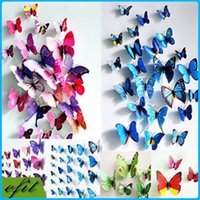 Wholesale 12pcs D PVC Butterflies DIY Butterfly Art Decal Home Decor Wall Mural Sticker PVC Wall paster stickers