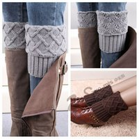 women socks - New Winter Warm Women Knitted Socks Knee Long Leg Warmers Woman Wool Boot Cuff Socks Stripe Print Knit Leg Warmers Womens Polainas