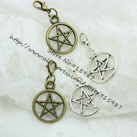 Cheap 30pcs 20*25mm two Color Vintage Metal Alloy Pentagram + Lobster Clasp Charms Jewelry Pendant Charms Findings D0444