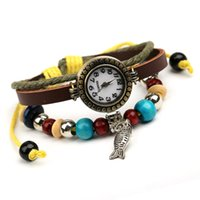 beaded metal watch - Fashion Leather watch with fish metal derocation for Men and women beaded bracelet Wristwatches set
