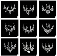 Wholesale 15 styles wedding bridal jewelry sets high quality Acrylic Alloy diamond wedding jewelry sets necklace earrings jewelry alloy jewelry
