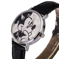 Wholesale Children Cartoon Watches Student Watches Reloj Leather Watch Strap Mickey Mouse Casual Sports Watches Women Dress Watch