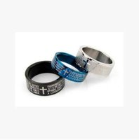 bible texts - Korean Couple Rings Cross Bible Text Rings High Quality Titanium Steel Rings
