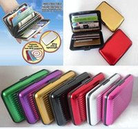 Wholesale Aluminium Credit card wallet cases card holder bank card case aluminum wallet Black Silver Red Blue Purple Green Gold