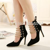 american ankle boots - brand new European and American metal chains pointed toe faux suede high heels women gladiator ankle boots stiletto pumps