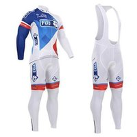 Wholesale 2015 Newest arrival FDJ cycling jerseys white red blue colors long sleeves bike clothing Bib Fleece none Fleeces for choice cycling jersey