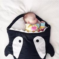 Wholesale 2015 New Ins Autumn Winter Thick Newborn Shark Envelope Blanket Baby Paded Sleeping Bags Sleepsacks in Stroller Fleabag M