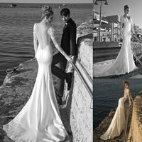 Reference Images dresses uk - 2015 Backless Long Sleeves Wedding Dresses Appliques Lace Mermaid V neck Bridal Gowns Garden UK Custom Made Bride Dress Beach Style
