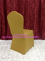 Wholesale 110pcs Anti Gold Lycra chair cover Flat Front Spandex chair cover for wedding event Party Decoration