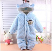 Cheap 2pcs lot Hot Clearance Low Price winter warm Baby romper baby One-Piece romper one-piece Hooded Cut monkey jumpsuit clothing