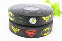Wholesale Yards quot mm Superhero style printed on black Grosgrain Ribbon