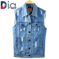 Cheap Wholesale-Dia Women Denim Vest Hole Sleeveless Design Ripped Patchwork Pockets Jeans Tops Brand Fashion Loose Cowboy Short Vest Coats