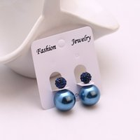 bead earrings patterns - New fashion fine jewelry color elegant double simulated pearl earrings for women cute circle pattern beads ball earrings