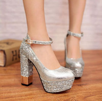 Wholesale Hot Selling Fashion Women s cm Glitter High Heels Wedding Shoes Bridal Shoes Dress Shoes SILVER Size