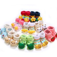 1 Paire Baby Anti Slip Nouveau-né 0-18Month Cotton Lovely Chaussures Cute Chaussons Cartoon Cartoon Chaussures Boy Girl Unisex Skid Socks