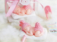 Wholesale 2015 New Wedding favors gift D Sleeping Baby cake Candles Flameless candles For baby showers favor gifts pink blue color