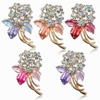 Wholesale Wholesales Enamel Pin Up Vintage Rhinestone Brooch Flower Wedding Bridal Brooch Bouquet Multicolor