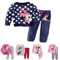 Wholesale DHL winter baby girls clothing sets Minnie pajamas Cotton cartoon long Sleeve Pants Suit Christmas Xmas Design