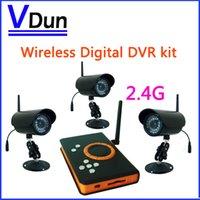 Cheap 2.4GHz Wireless Digital DVR kit ,3pcs Waterproof IR LED Night Vision Camera + 1pcs Wireless DVR Receiver SD Card , VD-ZJ128DR3