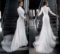 Wholesale Vintage Modest Lace Wedding Dresses Long Sleeve Tradional Catholic Christian Wedding Gown Muslim Dubai Arabic Bridal Appliques Real Image