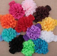 TuTu baby headbands with big flowers - 50 baby Headwear Head Flower Hair Accessories inch Chiffon flower with soft Elastic crochet headbands stretchy hair band Big Hollow