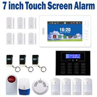 Wholesale 7 inch LCD touch Screen Wireless gsm alarm system IOS and Android APP control Smart Home Security alarm