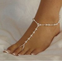 anklet ring - 10pcs pair Bridal Pearl Barefoot Sandal Anklet Bracelet Foot Ankle Chain Toe Ring Jewelry