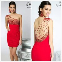 a910 - One Shudder Red Crystal Stone Sheath Short Mini Red Vestido Party Cocktail Homecoming Dresses a910