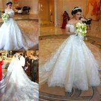 Wholesale Vintage Luxury Saudi Arabia Ball Gown Wedding Dresses Sexy Off shoulder Beaded Lace Applique Church Bridal Gowns Vestido De Novia BO821
