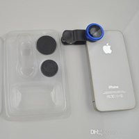 Wholesale Universal in1 Clip On Fish Eye Lens Wide Angle Macro Mobile Phone Lens For iPhone Samsung Galaxy S4 S5 All Phones fisheye