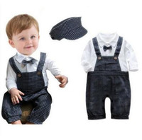 baby knickers outfit - Baby Boys Kids Clothes Clothing Rompers Cotton New Born Toddler Kids Knickers Romper Hat Vintage Suit Outfit Clothes Set A600