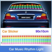 Cheap EL Car Stickers Car Music Rhythm Light Car Decals 90*10cm Sound Music Activated EL Sheet Car Sticker Equalizer Glow Flash Panel Light