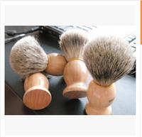 barber logos - Blank Men Shaving Brush Classic Wood Handle Brushes For Barber Make Up Shaver Brush Face Care Silvertip Hair Knot Without Logo