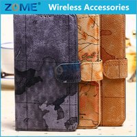 5.8 - Map Design Wallet Case with Stand Function Fashion Case Luxury Leather Case for SAM Galaxy Mega i9108 i9152 Brand New