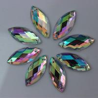 achat en gros de acrylique pierre à coudre-100PCS 10 * 23/12 * 25mm Crystal AB acrylique Flatback strass cousu sur 2 trous Horse Eye Fancy Shape Stones pour vêtements Robe Crafts ZZ232