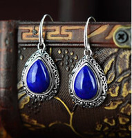 afghan earrings - S925 sterling silver jewelry natural Afghan lapis lazuli Thai silver retro carved teardrop shaped earrings