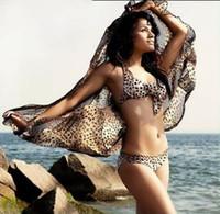 Wholesale Trendy Leopard Chiffon Cover up Wrap Shawl Dress Beach Swimwear Bikini Sarong