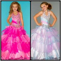Wholesale 2016 Beautiful Girl s Pageant Dresses Pink White Ball Gown Flower Girl Dresses Cute Halter Neck Summer Girls Pageant Dress for Weddings