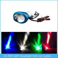 Wholesale 12 V Universal bright LED Strobe motorcycle headlight Indicator Fish eye lights H2935