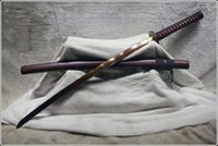Cheap HANDMADE JAPANESE SAMURAI SWORD KATANA DAMASCUS RED FOLDED STEEL SHARP BLADE #97