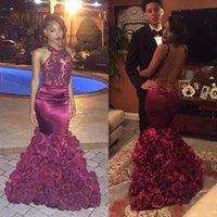 abaya - Burgundy Arabic Aso Ebi Style Evening Gowns Dresses Prom Sexy Mermaid Backless Flowers Skirts Abayas Dubai Plus Size Red Carpet Gowns