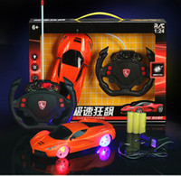 Wholesale Children gift hot selling battery charger steering wheel remote control car with flashing tyre