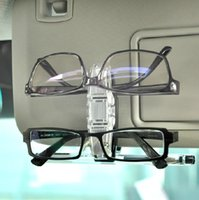 Wholesale 90 Degree Double Sunglasses Eye Glasses Holder Clip for Car Auto Sun Visor Vehicle Interior Accessory Glasses double clip