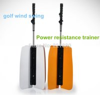 Wholesale DHL white and saffron yellow Golf Wind fan Golf Power Swing Fan Training PracticeAid Golf Auxiliary Supplies