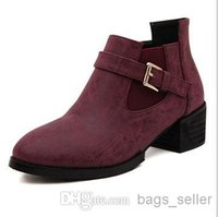 Wholesale Ankle Boots Women Shoes Buckle Black Red color New Arrival B6