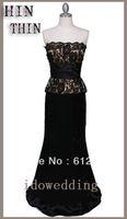Cheap Elegant Black lace Prom Dresses Satin Strapless Corset Ladys' Gowns Floor-Length Column Built-in-bra
