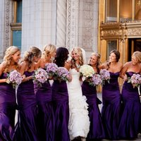 Wholesale Romantic Purple Mermaid Bridesmaid Dresses Best Selling Sweetheart Sexy Bodice Backless Women Evening Gowns Party Formal Dress Cheap
