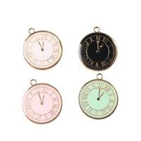 Wholesale Mini Order MM Oil Drop Vintage Clock Pendant Charms Gold Tone Enamel DIY Jewelry Fashion Bracelet Necklace Charms